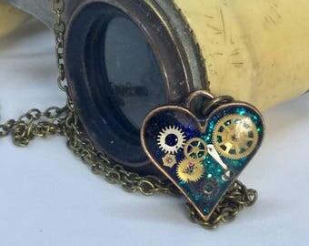 Timeless small blue steampunk heart pendant