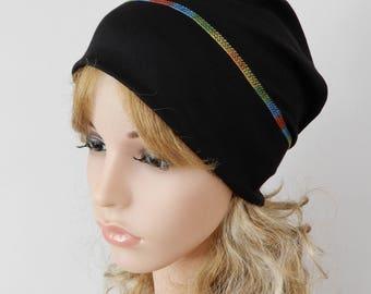 Black lightweight beanie Hat adult Summer slouchy beanie Men beanie Women headwear Viscose jersey beanie Chemo hat headcover stretch S-L
