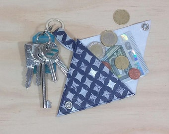 Faux leather and key chain 2 in 1 wallet