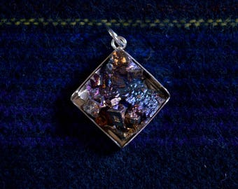 Bismuth Molten Metal Pendant - Handmade/Grown Metal Crystals in Sterling Silver