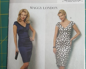 Butterick 5383, Misses Dress Sewing Pattern, Maggy London, Size AA (6, 8, 10, 12), Easy Sewing Pattern, Tapered Dress, Cap Sleeves,