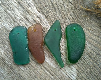Vintage glass jewelry handmade glass bead beachglass beach glass necklace top drilled glass seaglass pendant glass pendant from the sea