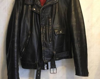 60's Sears Oakbrook Leather Motorcycle Jacket size 38