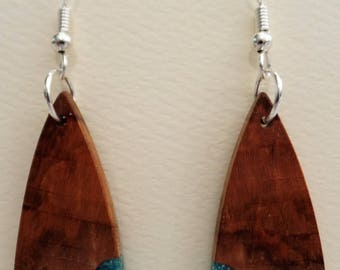 Maple Burl Earrings with Turquoise inlace with Sterling Silver Ear wires and Findings JER139SS