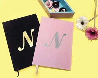 Notebook / velvet notebook / letter customized notebook / letter notebook / personalize notebook / pink velvet / black velvet / statinary