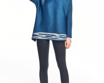 Sia Pleated blouse long sleeve Blue