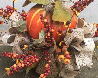 Autumn Pumpkin Basket Table Arrangement