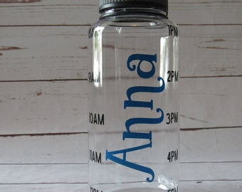 Personalized Water Bottle with Times; Water Bottle with Time; Custom Water Bottle with Times
