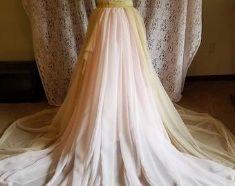 Champagne and blush full bridal skirt with chiffon train