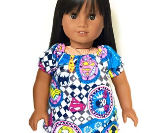 Sleepwear, Pajamas, Peasant Top, Shorts, , Flannel, WonderWoman, Bat Girl, Gray, Blue, White, Summer, 18 inch Doll Clothes