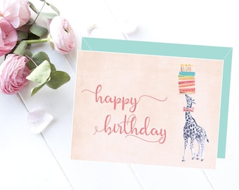 Printable birthday card, Happy birthday card, Birthday card, Printable card, Giraffe card, Scandinavian style, Love card, Birthday gift idea