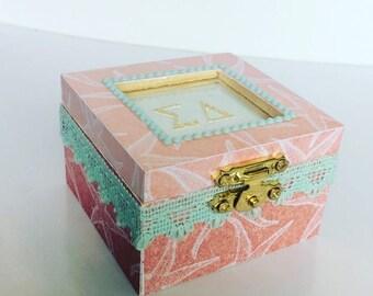 Any Sorority Sandy Starfish: Sorority pin box, Handmade, Choose any Sorority