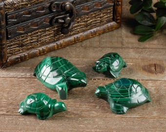 Set of 4 Turtle MALACHITE Stone Carvings - Turtle Statue, Turtle Art, Turtle Gift, Turtle Figurine Malachite Crystal, Turtle Sculpture 36721