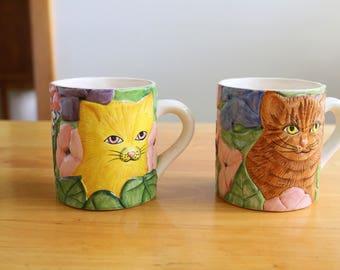 Vintage Pat Wade coffee mug, cat mug, vintage coffee mugs, cats and flowers
