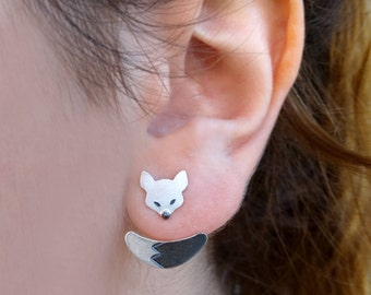 SALE Fox Silver Ear Jacket Earrings, Ear Jacket Earrings, Silver Fox earrings, Sterling silver ear jacket, Gifts for her, Fox jewelry