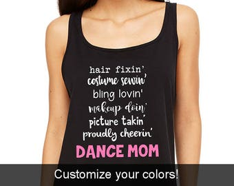 DANCE MOM Life Tank, Dance Mom Flowy Racerback Tank, Dance Mom Shirt, Cute Dance Mom Tank, Dance Tanks, Dance Mom Glitter, Dance Mom Gifts