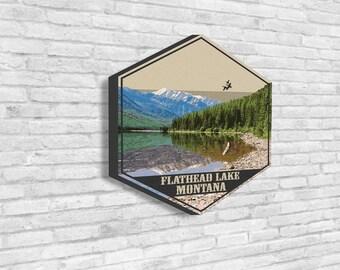 Flathead Lake Canvas, Flathead Lake, Montana, Travel Illustrations, Travel Collection, Hexagon Canvas, Visit Flathead Lake, Visit Montana