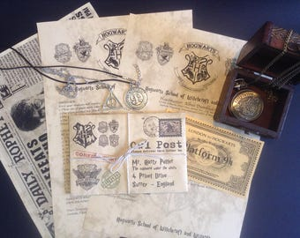 Personalized Hogwarts Acceptance Letter, Including a Hogwarts watch and a Greeting card!