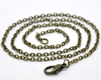 4 chains with 2 clasp 46 cm x 3 mm chain color bronze