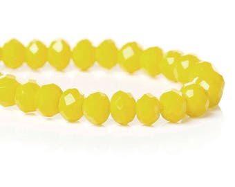 70 yellow 4mm glass faceted beads / oval beads