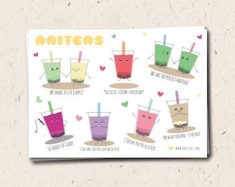 Amiteas A6 Sticker Sheet | Bubble Tea Stickers, Boba Tea Stickers, Punny Stickers, Cute Stickers, Kawaii Stickers, Planner Stickers