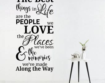 WD101082 | The Best Things in Life - People, Places, Memories - Quote Vinyl Wall Art Sticker