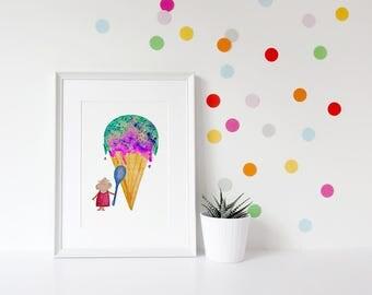 Kids Mouse Print, Kids Ice Cream Art, Ice Cream Print, Cute Art for Kids,Kids Mouse Art, Kids Art, Kids Print, Cute Art, Nursery Art