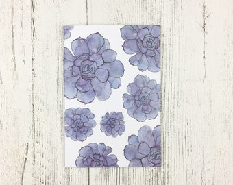 Succulent Notebook A6 / Mothers Day Gift / Easter Gift For Women / Gift For Friend / Succulent Watercolour Design / Handbag Notepad