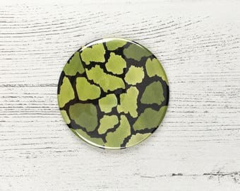 Fresh Green Pocket Mirror / Round Mirror / Nature Lover Gift / St Patrick's / Gifts For Her / Watercolour Print / Easter Gift / Mothers Day