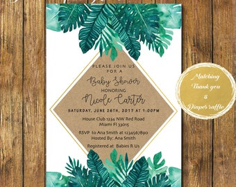 Digital File or Printed Tropical Baby Shower Invitation-Greenery Leaves Baby Shower Invite-Gender Neutral Green Garden Invite-Palm Leaves-