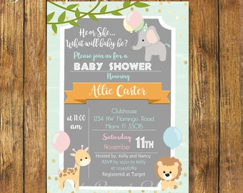 Digital File or Printed,Safari Baby Shower Invitation Gender Neutral,Jungle Theme Baby Shower,Safari Gender Neutral,Girl,Boy,Free Shipping