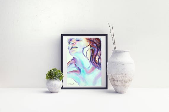 Dreaming woman, portrait, originsl artwork by Francesca Licchelli, anniversary gift idea, home office decoration, moder decore, wall art.
