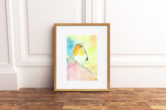 Small square depicting a robin on the branch, original watercolor by Francesca Licchelli, A6, giclee fine art print, mini painting, artwork.