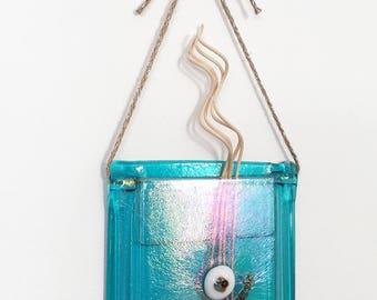 Fused Glass Hanging Pocket Vase or Scented Oil Diffuser