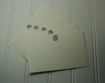 Set of 5 Fabriano Note Cards - Hand-stamped & Hand-embossed with Lady Bugs - Fun, Sweet Stationery - Handmade in Medina, Ohio, USA!