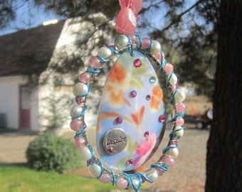Inspire Flower Printed Shell Sun Catcher with Pink and Green Culture Pearl Bead Accents #5852