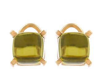 18 KT. Yellow Gold Square Cabochon Peridot Earclips