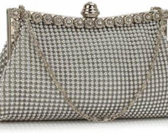 Victoria Bridal Bag Silver,  Bridal Clutch, Wedding Bag, Bridal Purse, Evening Bag, Bridesmaid Bag, Wedding Purse