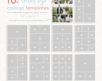 Letter Size Collage Templates 10 pieces, 8.5 x 11 inch magazine pages / storyboards / moodboards / blog boards / full page photo collages