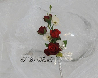 Red Rose Boutonniere, Red Rose and White Orchid Boutonniere, Red and White Boutonniere, Wedding Boutonniere, Rose and Orchid Tux Lapel Pin