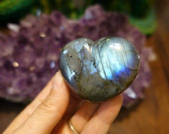 Polished Labradorite Puffy Heart from Madagascar |  57mm Crystal Heart | Healing Crystal | Mineral Specimen #170