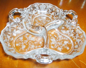 "Cambridge Glass 3 Part Divided Relish Dish - 3 Handles - 8"" Diameter - Very Nice!"