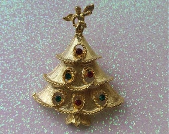 Vintage Multicolor stone Gold Christmas Tree Brooch