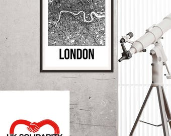 London City Map Print - Black and White Minimalist City Map - London Map - London Art Print - Many Sizes/Colours Available