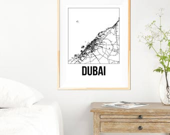 Dubai City Map Print - Black and White Minimalist City Map - Dubai Map - Dubai Art Print - Many Sizes/Colours Available