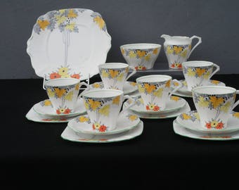 Art Deco Vintage Hand painted Bell China Tea set for six England 1930's