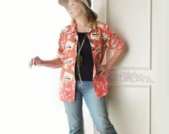 Vintage Hawaiian shirt, orange floral print, island travel theme, size medium large, cruise wear, lightweight jacket, FREE SHIPPING