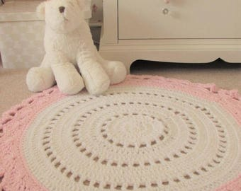 Nursery Rug, Pink and White Rug, Playmat,  Girls Room Rug, Round Rug, Handmade Rug, Nursery Rug Pale Pink .