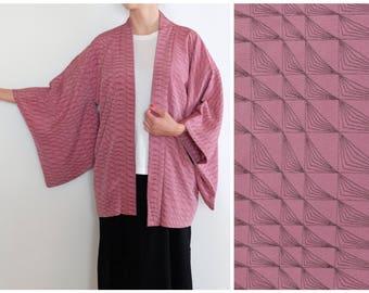 Japanese Kimono - Vintage - Silk Kimono - Haori - Traditional Japanese Haori Kimono - Short Kimono Robe - Women's Kimono - Violet Kimono