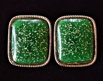 Vintage 80s Square Glitter Glam Resin Statement Earrings Green Mod Retro Costume Jewelry 1.25""
